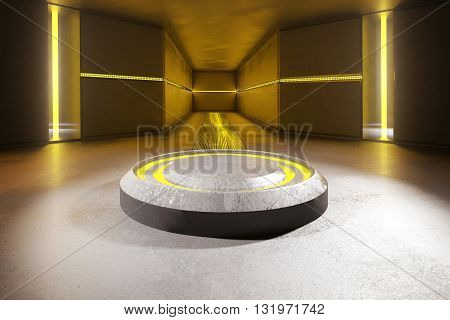 Abstract concrete interior with round projection and yellow lights. 3D Rendering