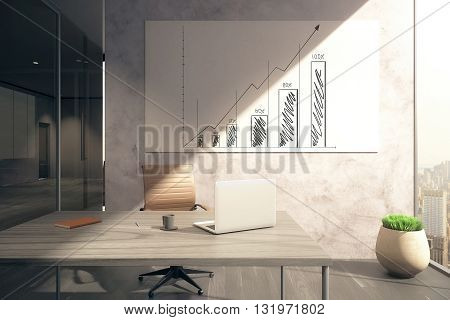 Office interior with workplace and business chart on whiteboard. 3D Rendering