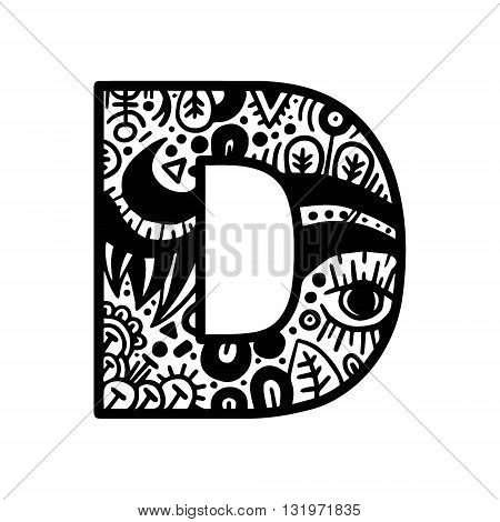 Hand Drawn Alphabet Letter D Vector Isolated On White Background. For Shirt Design, Tattoo, Decorati