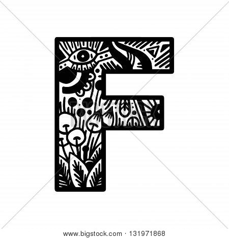 Hand Drawn Alphabet Letter F Vector Isolated On White Background. For Shirt Design, Tattoo, Decorati