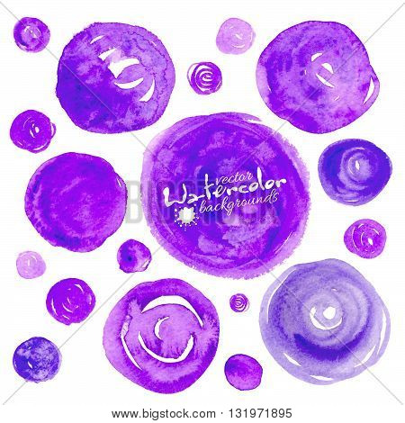Set of violet vector watercolor circles backgrounds