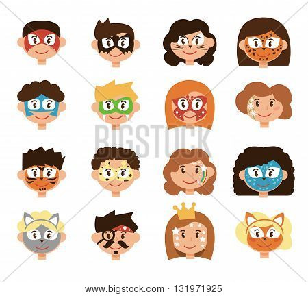 Face painting. Children. Masks for kids. Cartoon illustration, in flat style. Masks: fox, butterfly, wolf, robot, hero, pirate, princess and others