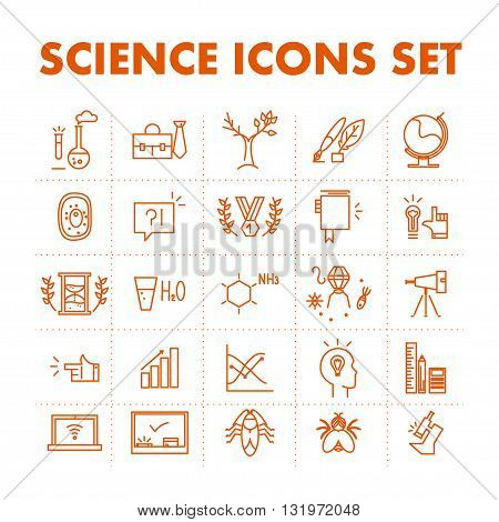 Vector science icon set isolated on white background. Simple art icon. Flat icon concept for science.