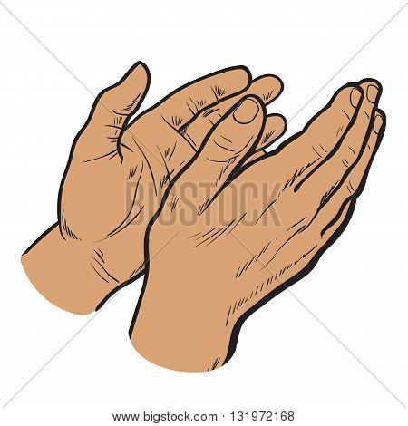 Isolated on white background hands clap their palms, the two men's hands, sketch style drawn, cherntsy contour of human hands, applause, bravo, joy, success
