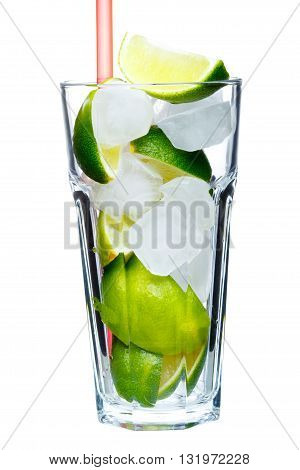 Mojito Glass With Sliced Lime On White Background