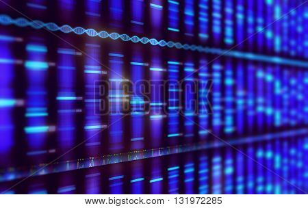 Illustration of a method of DNA sequencing. Image with depth of field.