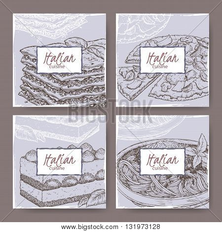Set of four Italian cuisine banner templates. Includes hand drawn sketch of pizza, lasagna, tiramisu, spaghetti. Great for restaurants, cafes, recipe and travel books.
