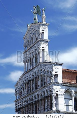 Fragment of the Church of San Michele, Roman Catholic basilica church in Lucca, Italy