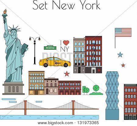 I love New York city. Vector elements set.