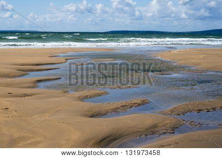 beautiful sandy beach on the wild atlantic way in ballybunion county kerry ireland