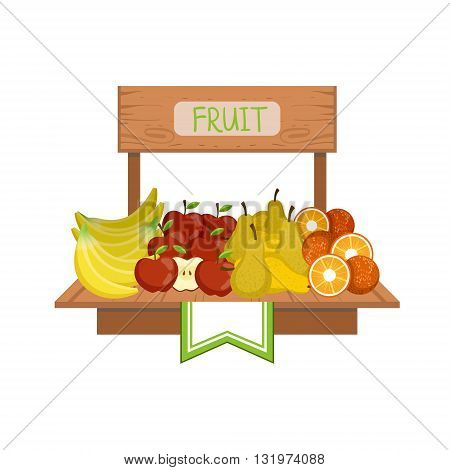 Market Stand With Fruits Flat Simple Colorful Design Vector Illustration
