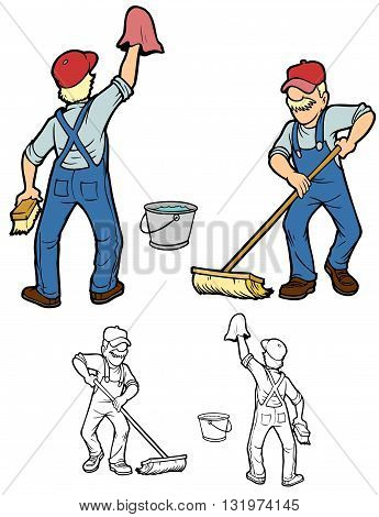 Janitor cleaning up.  Comes with black outline versions.
