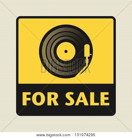 LP For Sale icon or sign vector illustration