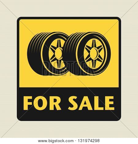 Car Tires For Sale icon or sign, vector illustration