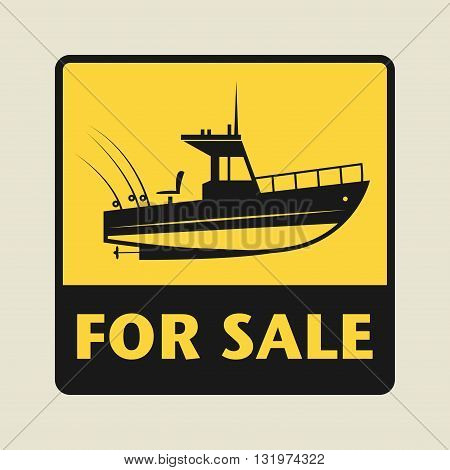 Boat For Sale icon or sign, vector illustration