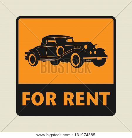 Car For Rent icon or sign, vector illustration