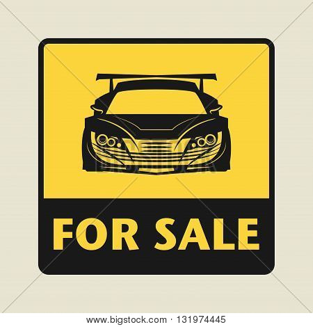 Car For Sale icon or sign, vector illustration