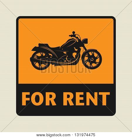 Motorbike For Rent icon or sign vector illustration