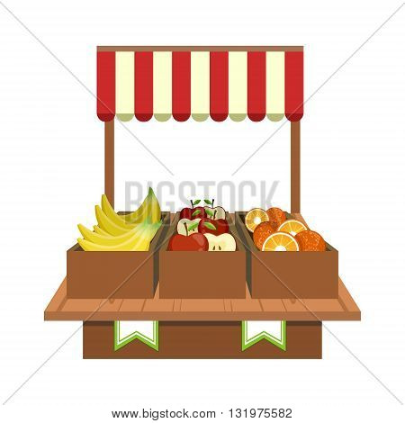 Fruit Stand On The Market Flat Simple Colorful Design Vector Illustration