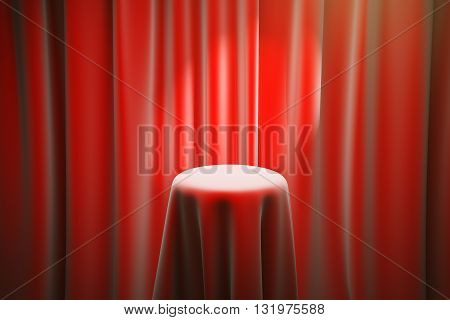 Red magician's table with limelight and curtains in the background. Mock up 3D Rendering