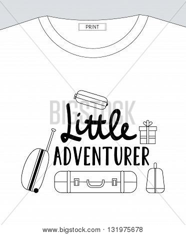 Vector flat illustration Little ADVENTURER lettering with suitcases. Baby print for t-shirt.