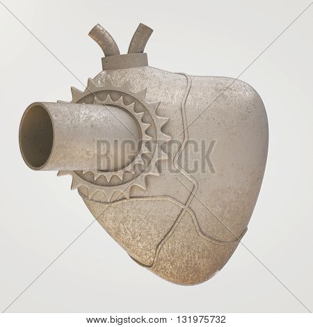 Old iron heart on light background. 3D Rendering