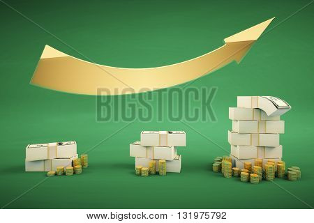 Financial growth concept with dollar banknote stacks coins and upward arrow on green backrgound. 3D Rendering