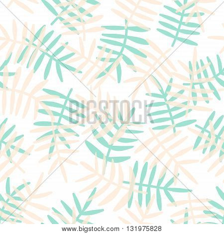 Vector Seamless Pattern Of Palm Leafes. Tropical Background.  Textile Fabric Print