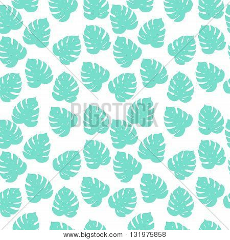 Vector Seamless Simple Tropical Background With Pattern Of Palm Leafes. Textile Fabric Print