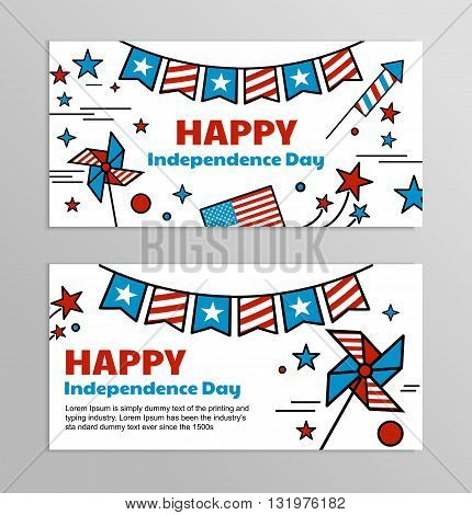 Set of bright web banners for celebrating of the 4th of July. Illustrations and symbols of America red and blue flag with stars.