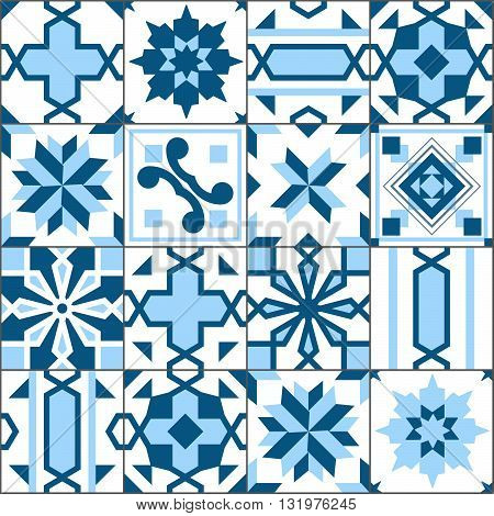 Vector Seamless Patchwork Tiles Floor. Pattern Of Painted Glazed Ceramic Tilework. Blue Tiles Floor