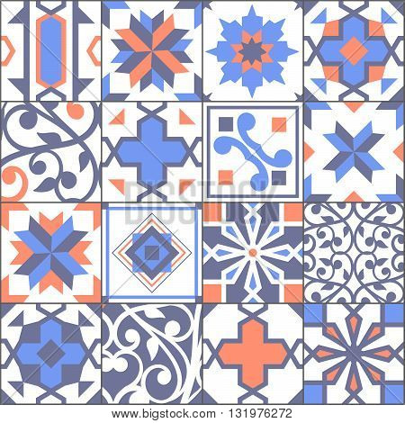 Vector Seamless Patchwork Tiles Floor. Pattern Of Painted Glazed Ceramic Tilework. Tiles Floor Ornam