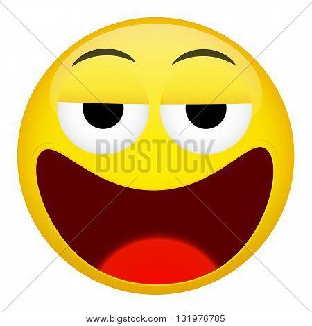 Drunken tired smile emotion. Emoji vector illustration.