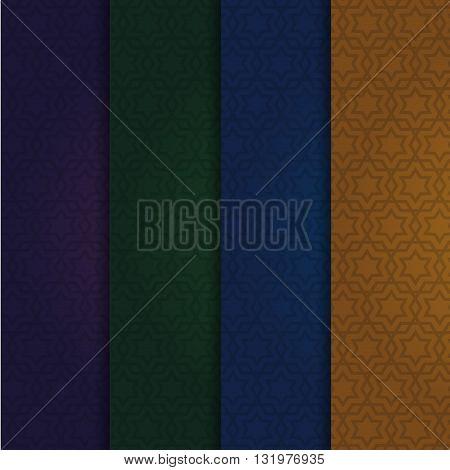 Set of the arabic vector patterns. Dark arabic festive backgrounds