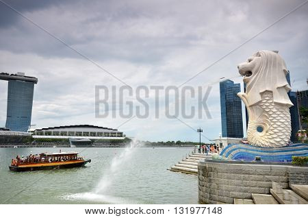 The Merlion Fountain In Singapore