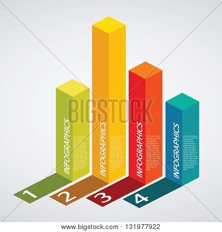 Vector info graphics - colorful graph, square pillar, shadow