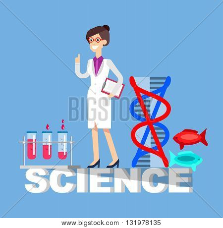 Detailed character scientis, laboratory technician scientis, Biotechnology scientis, genetic engineering scientis, nanotechnology and genetic modification scientis