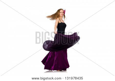 Woman in purple dress isolated on white