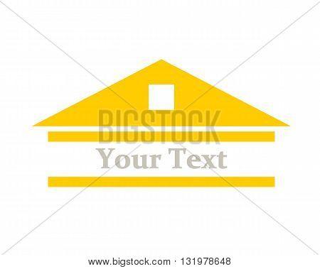 Orange logo house project - vector illustration.
