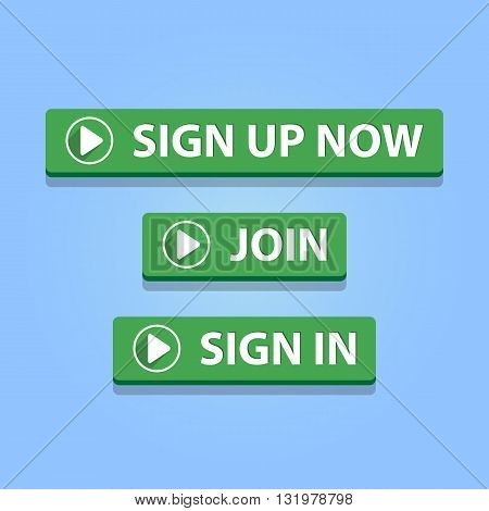 Sign up now join sign in buttons. Green color. Vector illustration.