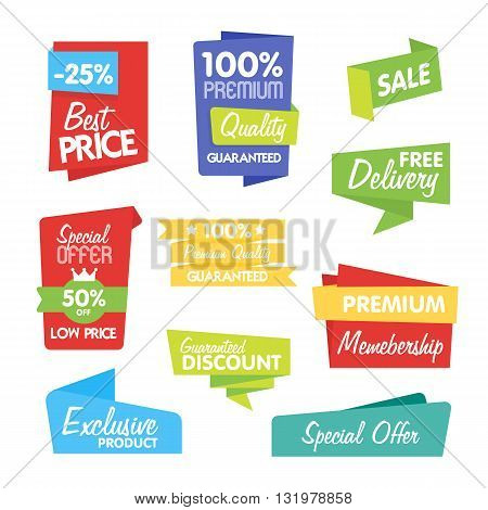 Sale sticker. Discount sticker. Vector sale sticker. Isolated sticker. Sale sticker on white background. Exclusive product sticker. Special offer sticker in origami style. Sale sticker set. Best price tag. Sale. Sale tag vector isolated. Sale banner set.