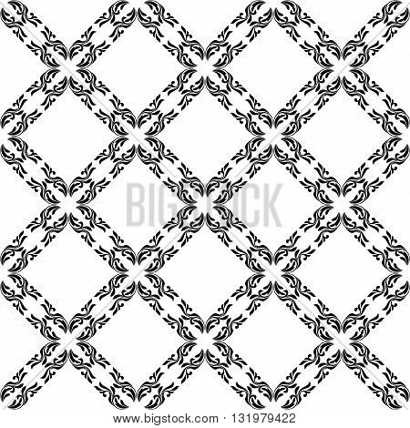 Elegance seamless pattern with decoration floral tracery on a white background.