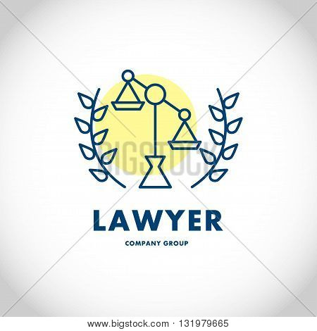 Vector lawyer company group logo isolated on white background. Flat business firm insignia silhouette, icon, logo, label, symbol, badge, element, sign, illustration. Design logo for lawyer company group.