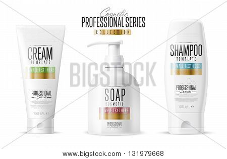 Cosmetic brand template. Vector packaging. Body care product. Oil, lotion or soap, shampoo, cream. Realistic bottle mock up set. Isolated pack on white background.