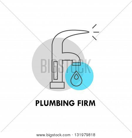 Vector plumbing firm logo isolated on white background. Artistic simple design concept. Flat logo for plumbing firm, plumbing shop, delivery firm, card, icon, banner, flyer.