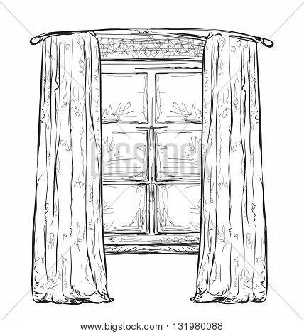 Hand drawn hurtains. Windows sketch. Interior element