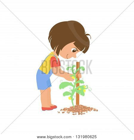 Girl Taking Care Of A Plant Colorful Simple Design Vector Drawing Isolated On White Background