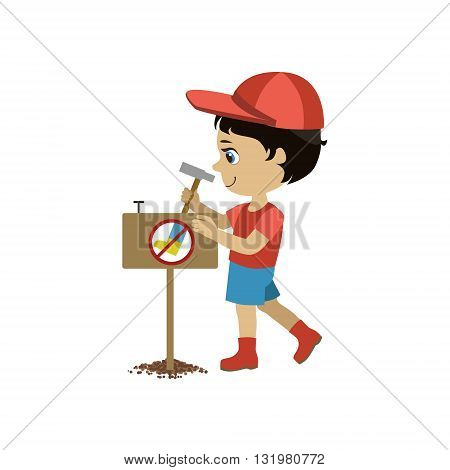 Boy Establishing A Garden Sign Simple Design Illustration In Cute Fun Cartoon Style Isolated On White Background