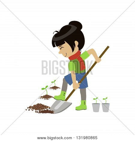 Girl Digging The Ground Colorful Simple Design Vector Drawing Isolated On White Background