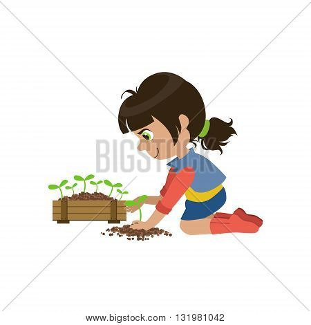Little Girl Gardening Colorful Simple Design Vector Drawing Isolated On White Background